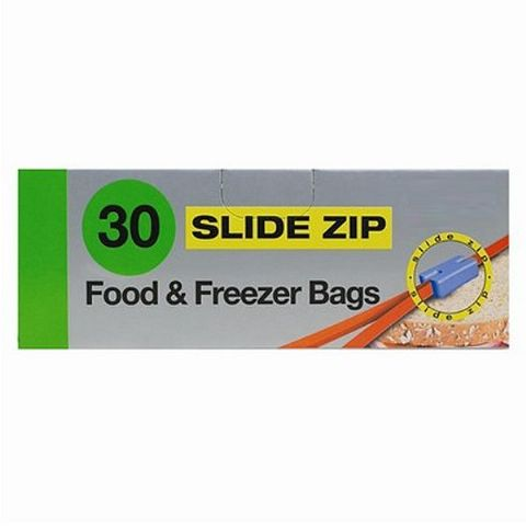 Slide Zip Freezer & Food Bags - 30 Strong Thick Zip Seal Reusable 19 x 17cm